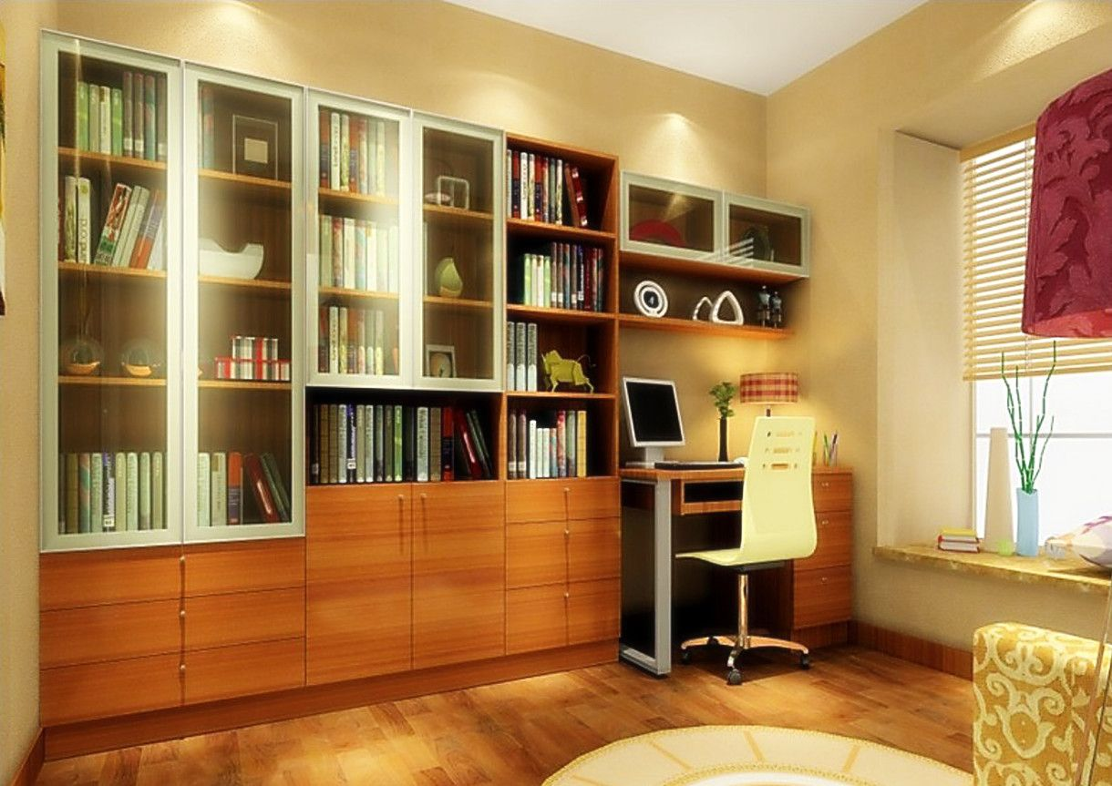 3d software render study room design with yellow mesh back for Study room wall cabinets