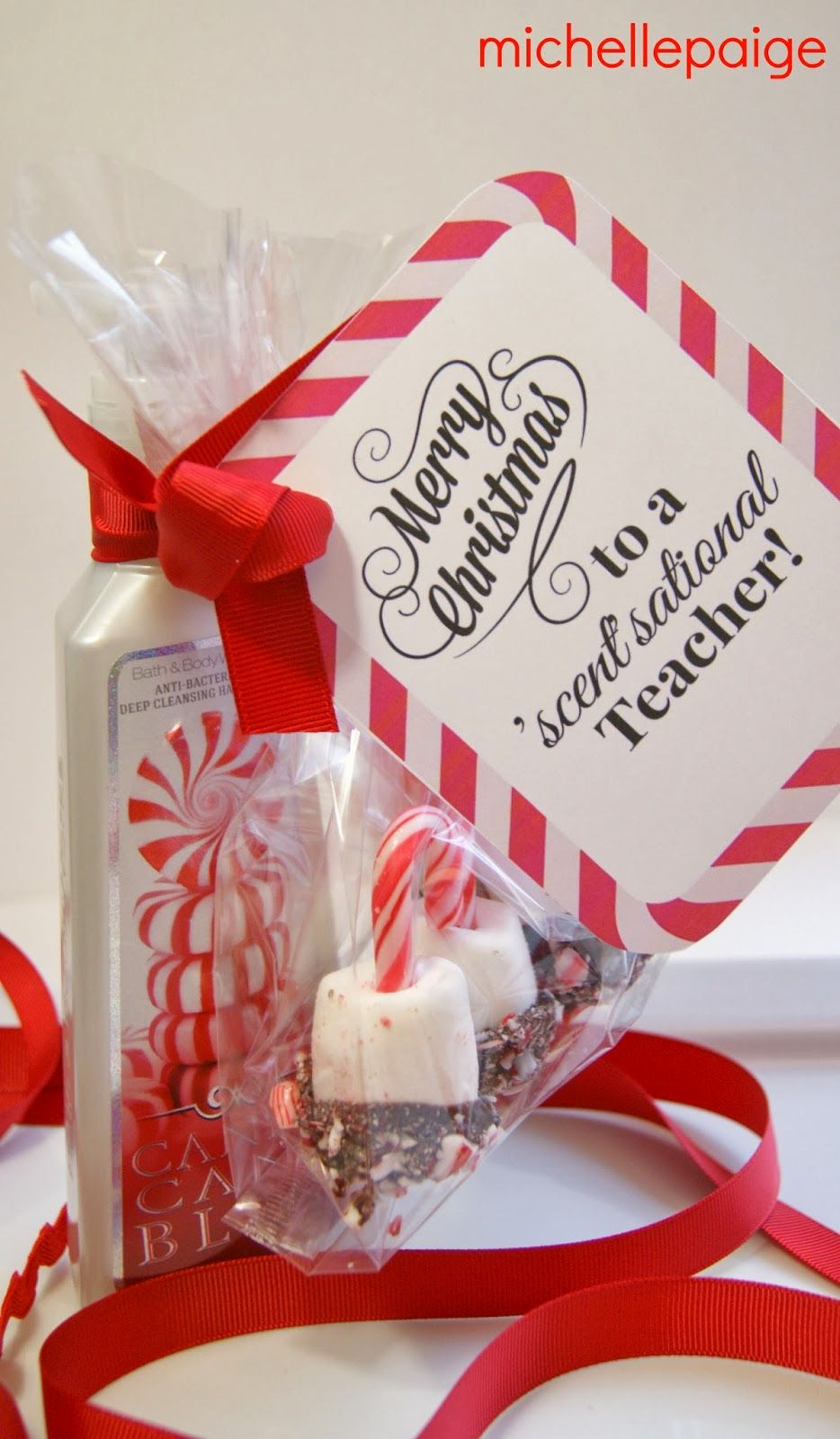 Quick Teacher Gift for Christmas with peppermint marshmallow dippers ...