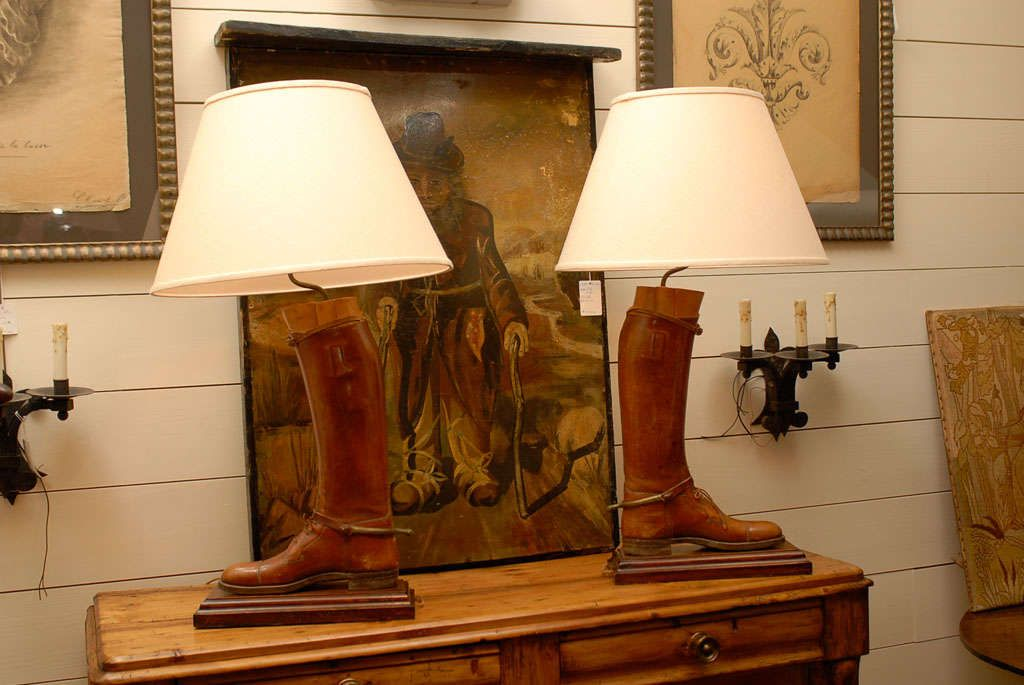 Pair Leather Riding Boot Lamps 1stdibs Com Lamp Unusual Lamps Leather Riding Boots