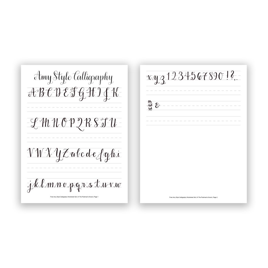 Free Basic Brush Pen Calligraphy Worksheet – Dying to Be Thin Worksheet