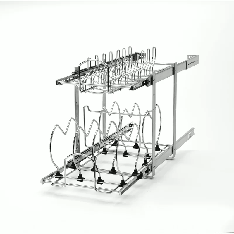 2 Tier Pull Out Kitchenware Divider Rev A Shelf Base Cabinets