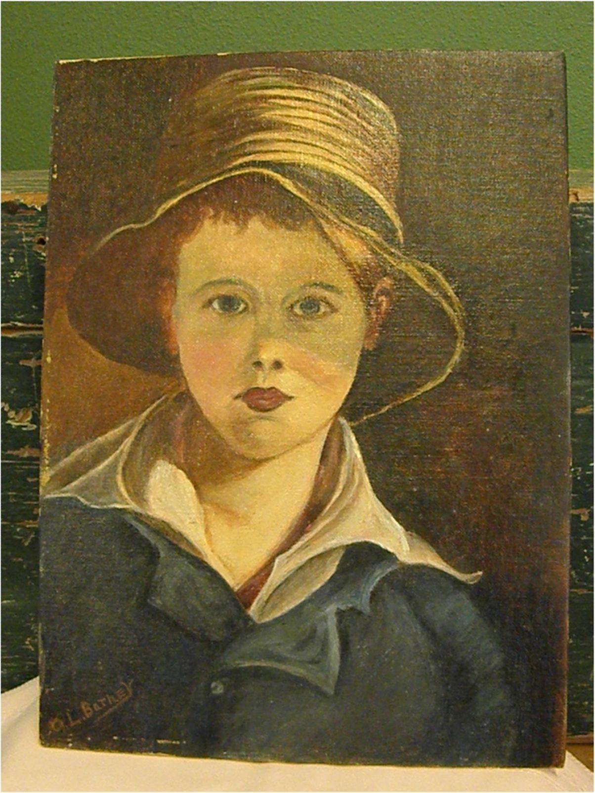 Vintage Mid-Century M. Manson Young Boy Wearing a Ruff