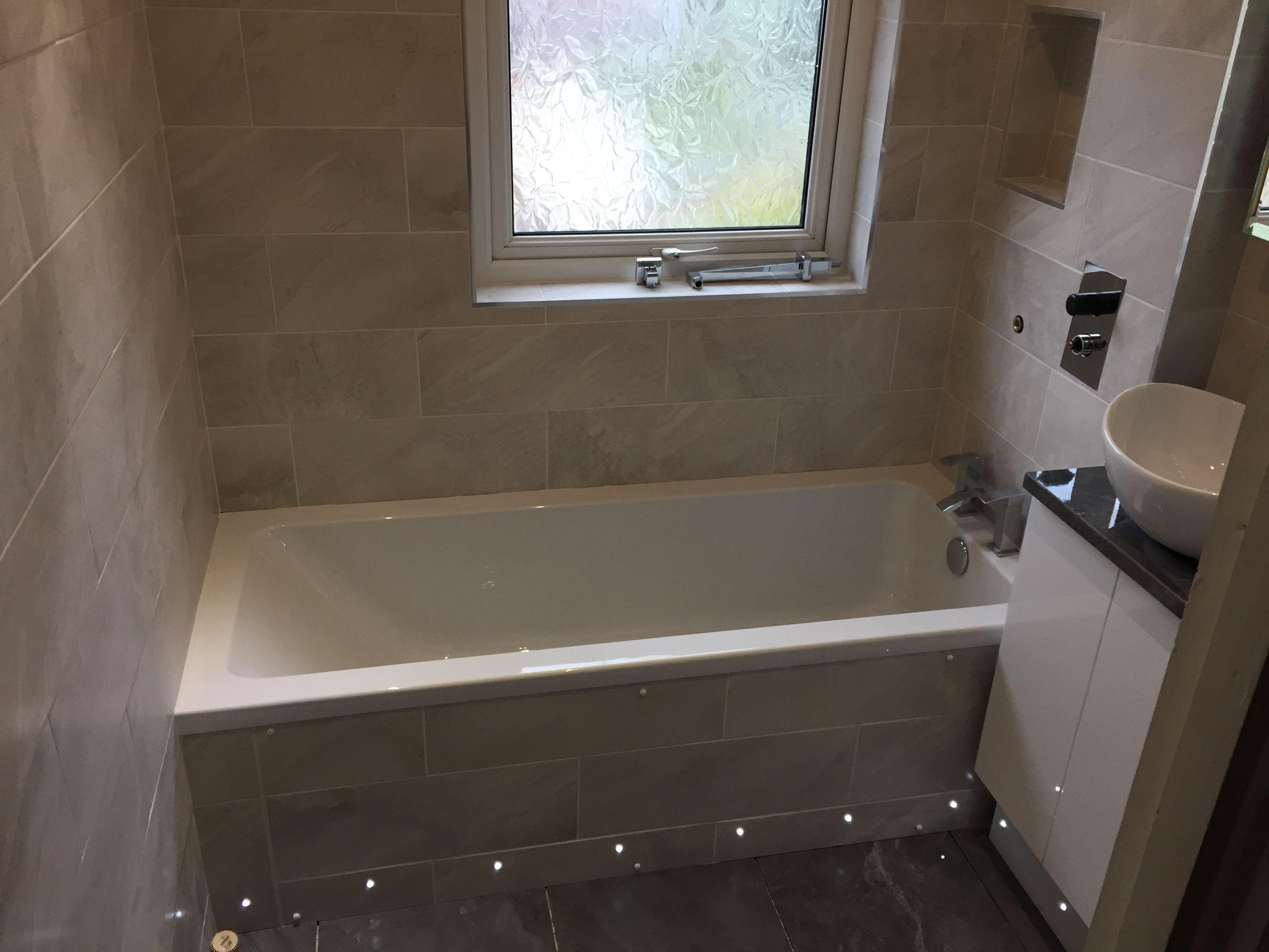 Image result for tiled semi inset counter Tiled bath