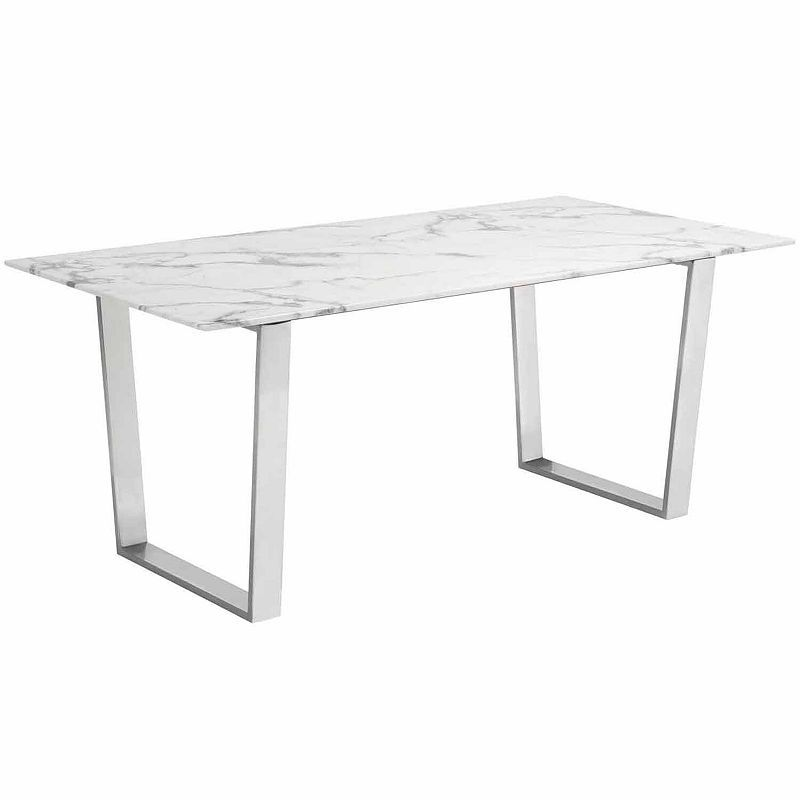 Atlas Stainless Steel Top Dining Table Products Faux Marble