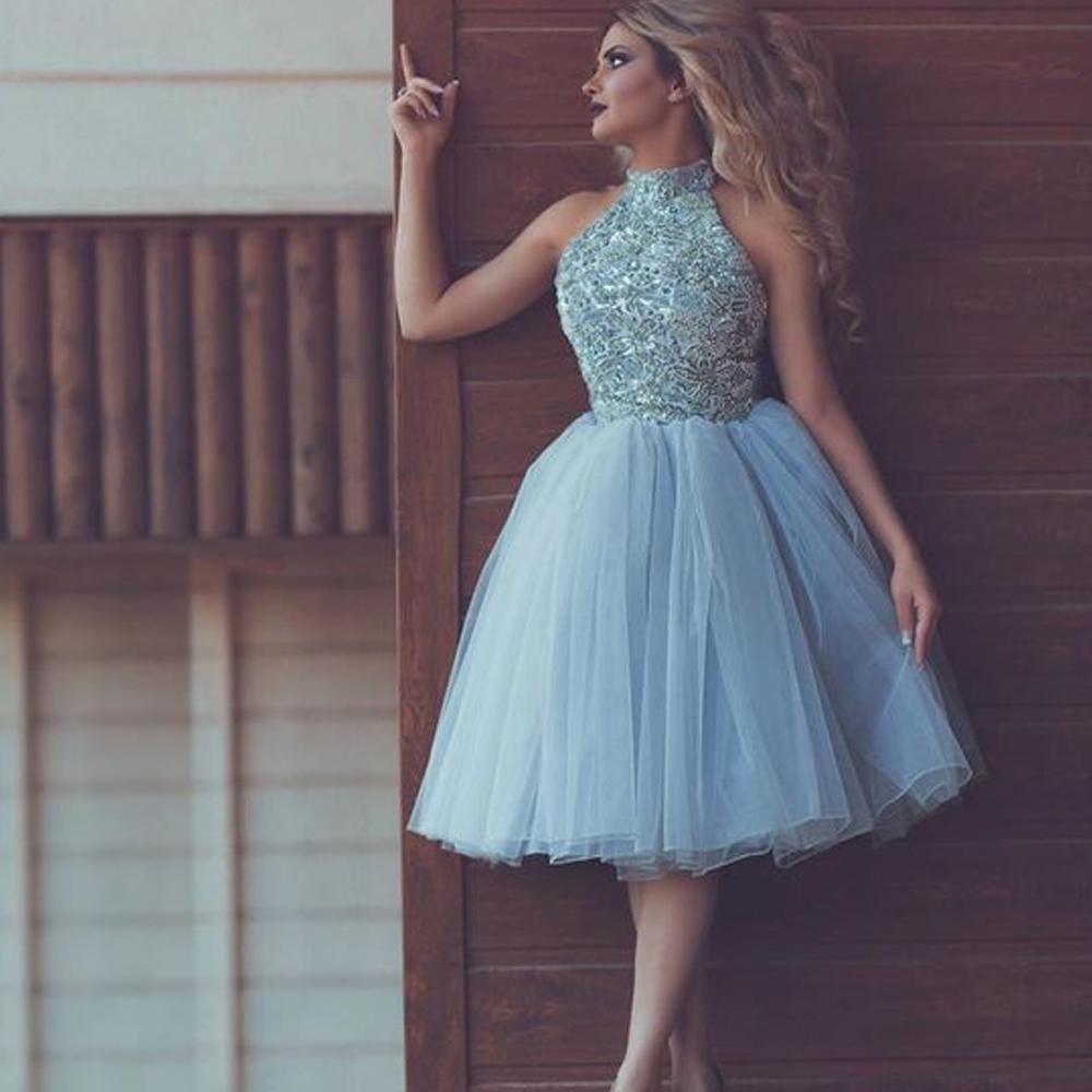 High Neck Blue Prom Dresses Short 2020 Lace Applique Beaded Cheap Homecoming Dresses Vestido De Graduation Mini Prom Dresses Prom Dresses Blue Homecoming Dresses [ 1000 x 1000 Pixel ]