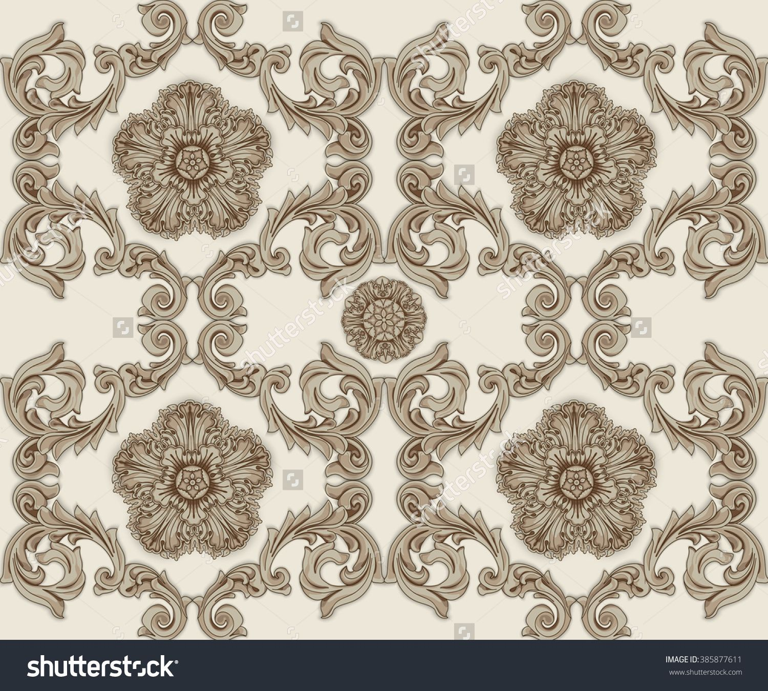 Brown Seamless Pattern With Flower And Ornaments In Baroque Style Wallpaper Design Background