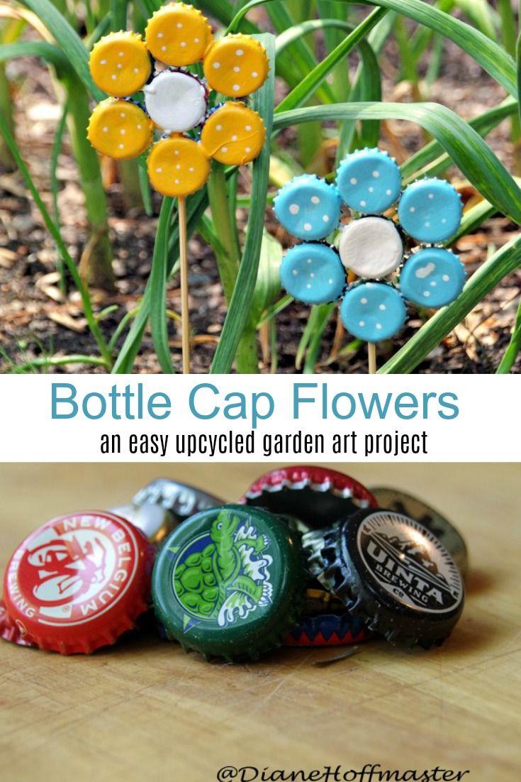 Easy Earth Day Craft: Bottle Cap Garden Art
