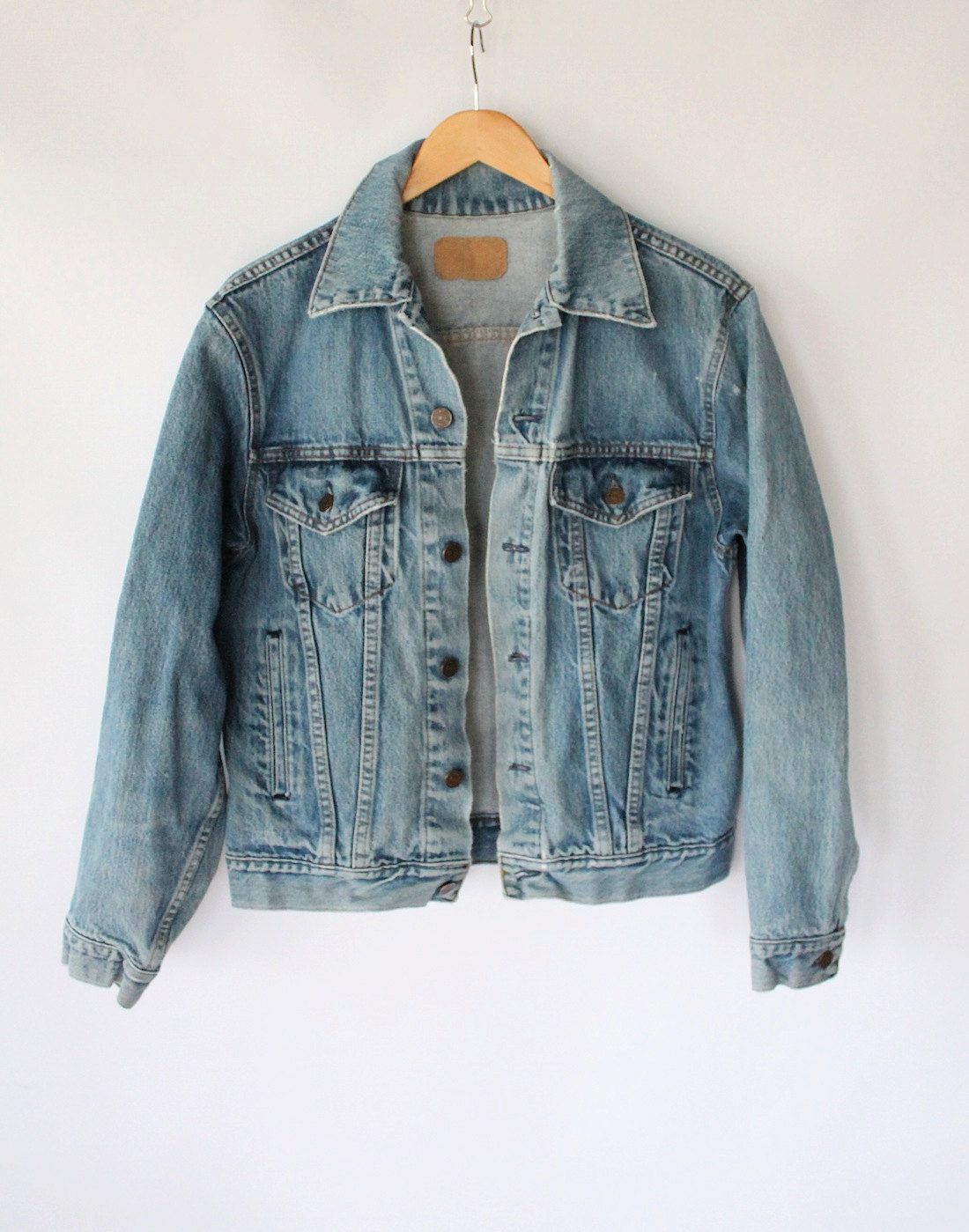 aefe35f3 Vintage 80s Men's Classic Denim Jacket // Blue Jean Jacket Sz Small.  $34.00, via Etsy.