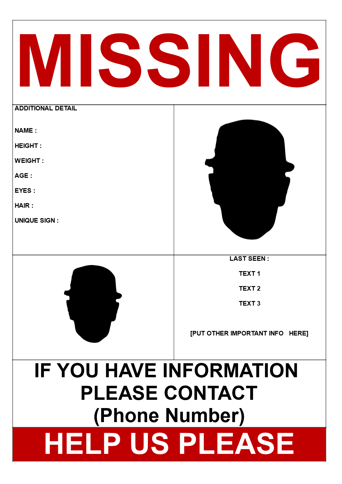 Missing Person Template 2 pictures Download this Find Missing – Missing Person Template
