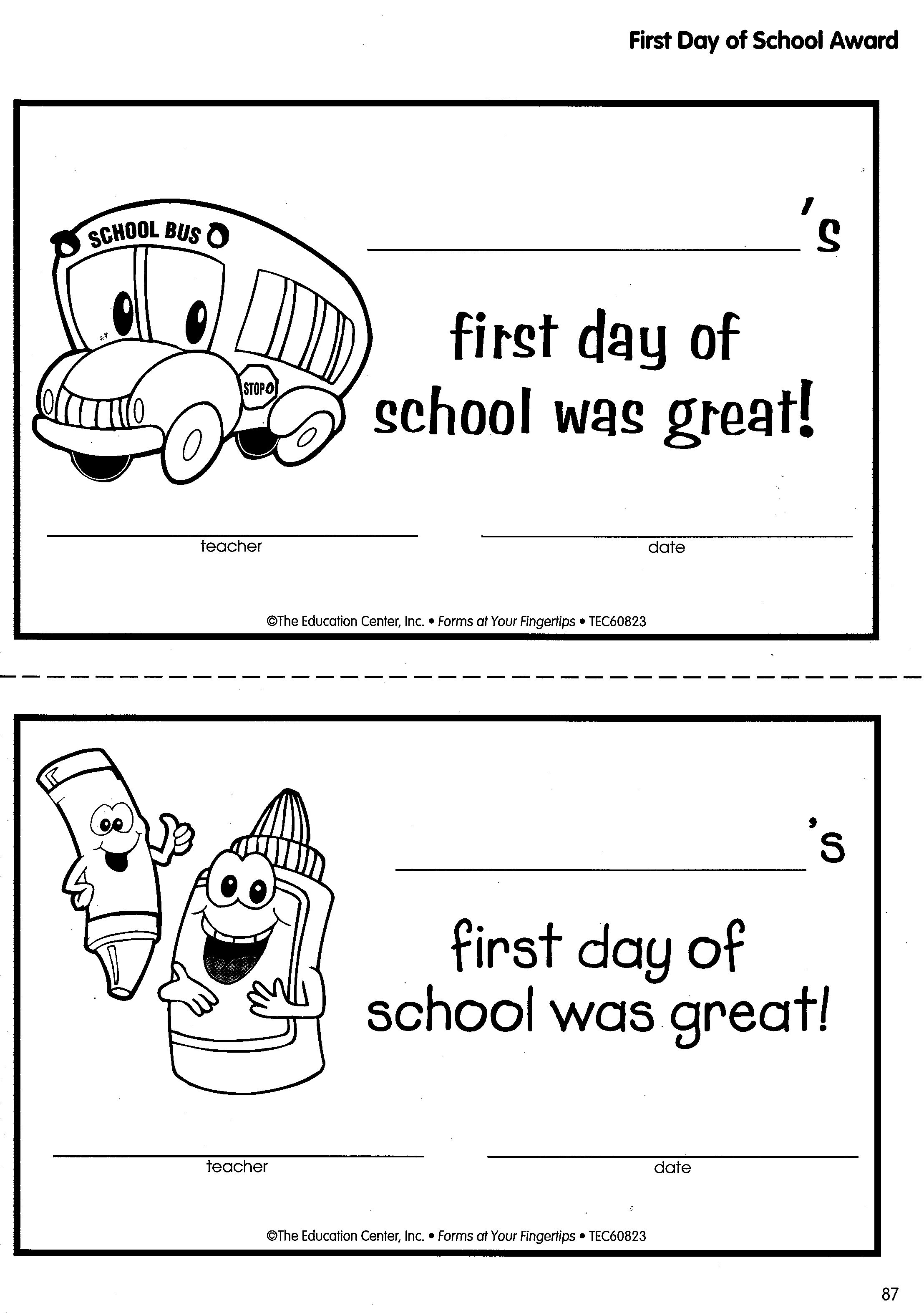 First Day Of School Awards Compliments Of Forms At Your Fingertips Now 30 Off At Http Store Oblockbook 1st Day Of School First Day Of School School Awards