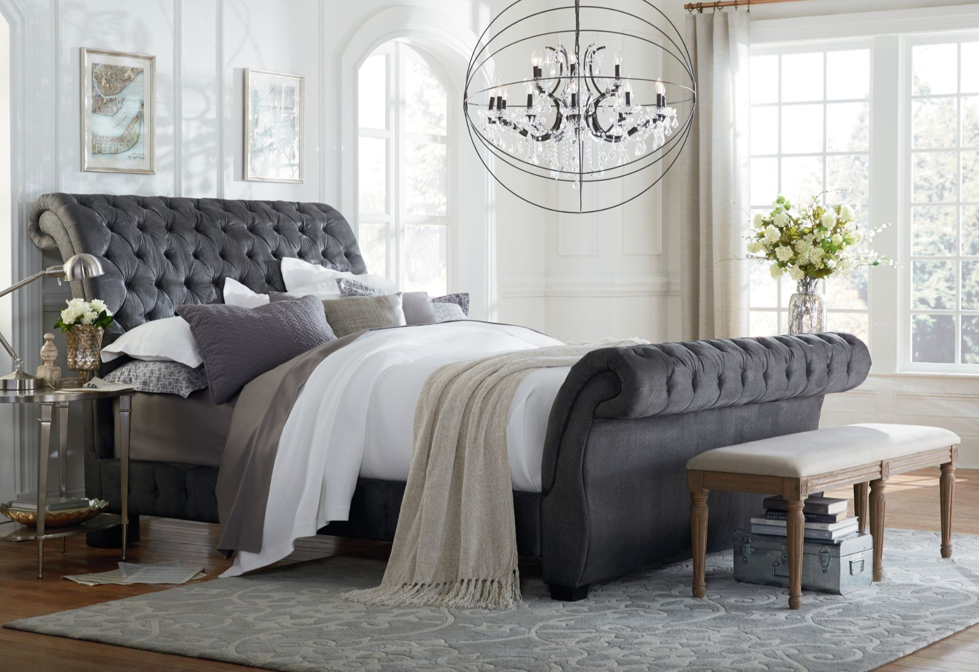 Gunmetal Tufted Sleigh Bed Inexpensive Bedroom Furniture King Upholstered Bed Bedroom Sets