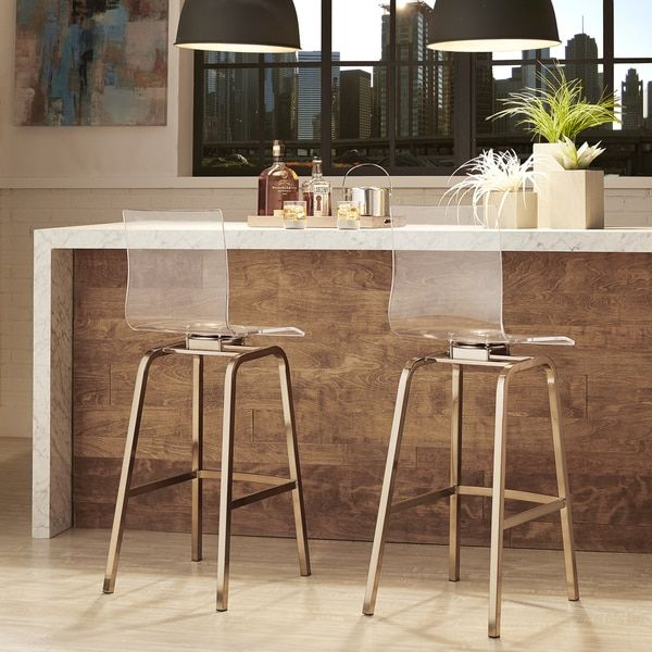 Miles Clear Acrylic Swivel Bar Stools with Back by INSPIRE Q (Set of ...