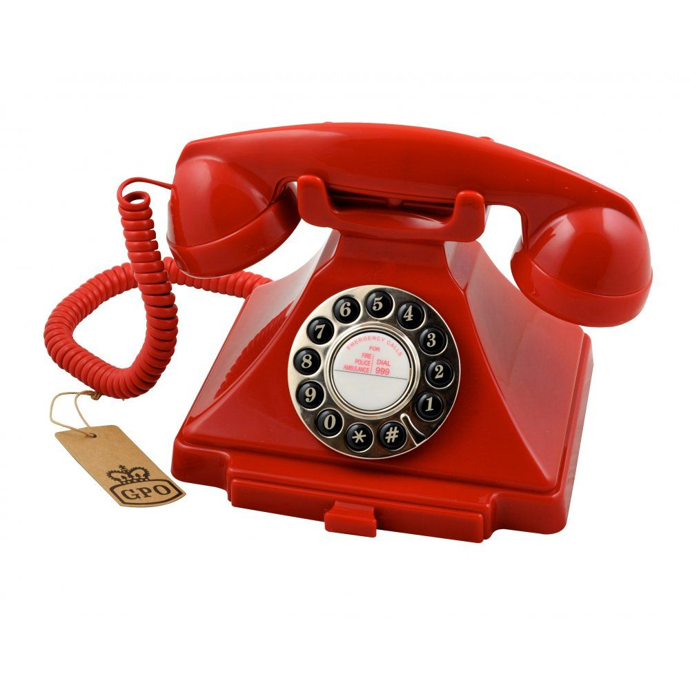 GPO Retro Carrington Push Button Red Telephone Vintage Style - Designer home phones