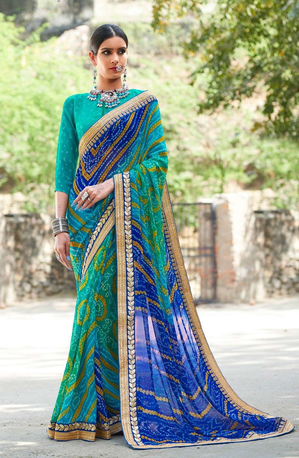 ad70226af6 Latest Green and Blue Gujarati Bandhani Saree with Golden Gota Lace Border