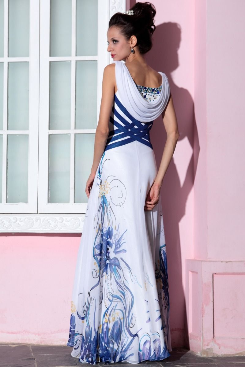 Fashion blue elegant v neck sleeveless cocktail and party formal