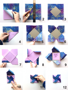 here are the steps i went through to make my pinwheel fold card