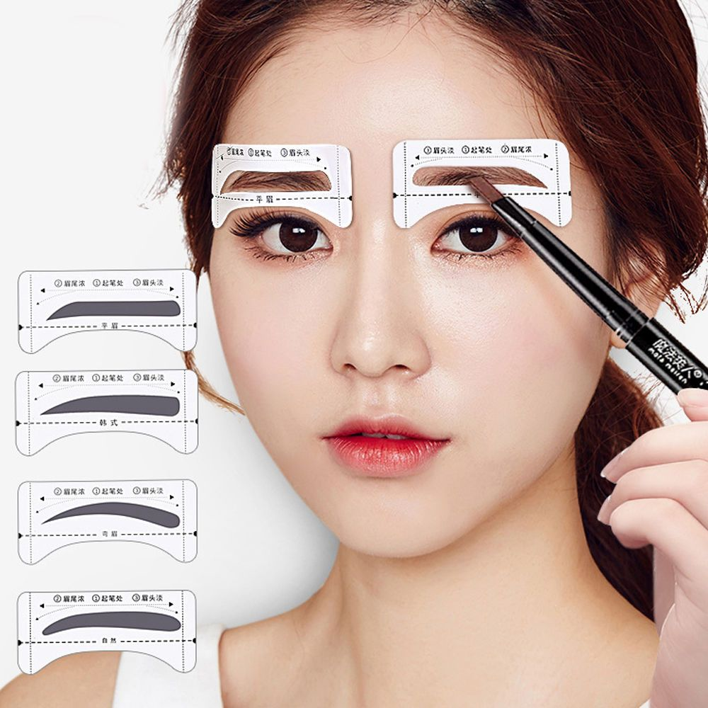 Vogue 8pair Women Eyebrow Drawing Card Grooming Shaping Brow Template Makeup