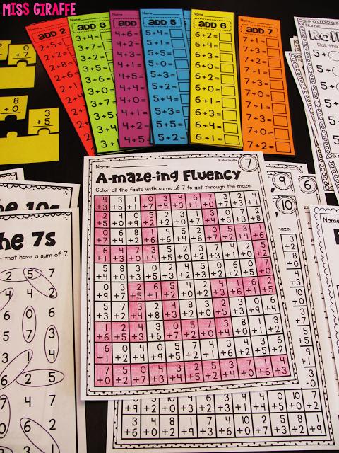 Miss Giraffe\'s Class: Fact Fluency in First Grade   Grades 1-2 ...
