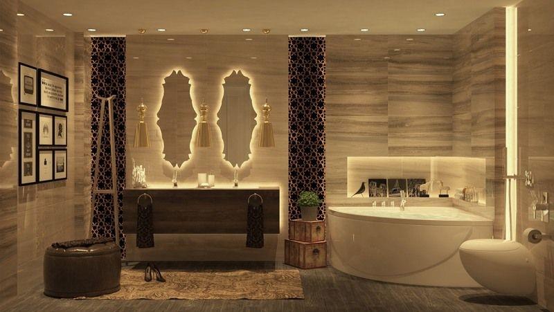 Luxus Badezimmer Mit Eckbadewanne Und Doppelwaschbecken