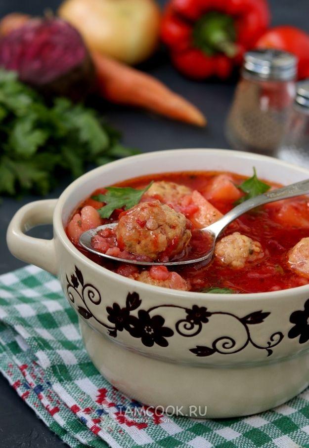 Свекольный суп с фрикадельками | Рецепт (с изображениями ...