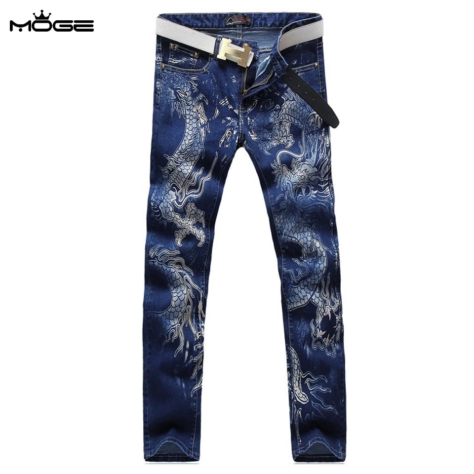 46.85$  Buy here - http://aliglf.worldwells.pw/go.php?t=32716393349 - MOGE men printed jeans casual slim fit men brand jeans hip hop jean vetement homme pantalones vaqueros de marca para hombre 46.85$