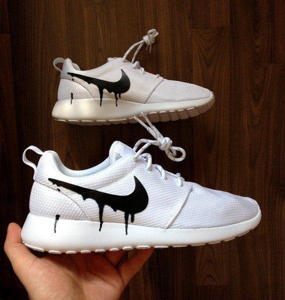 c21dce47ae29 Nike Roshe White with Custom Black Candy Drip Swoosh Paint ...