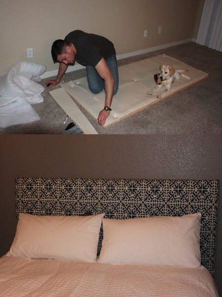 Cheap way to make your own headboard.
