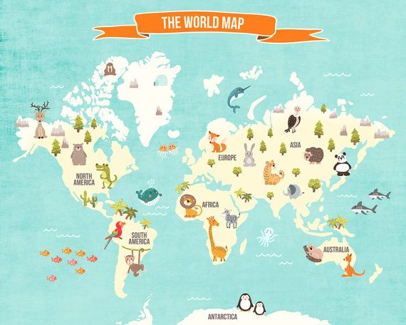 World Map Decal World Map Animals Animal By Anietillustration