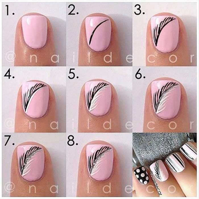 Pink Autumnal Nails - Easy Nail Art Designs For Short Nails - Top 60 Easy Nail Designs For Short Nails - 2018 Update Nail Art