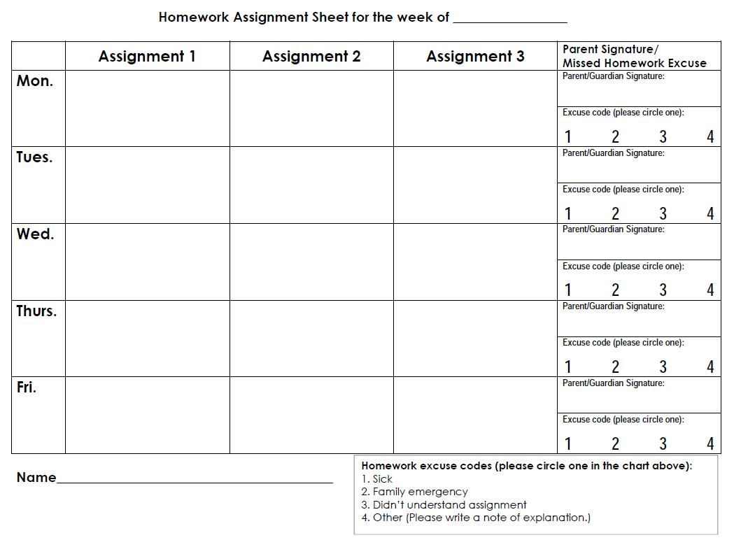 Printable Weekly Homework Assignment Sheet