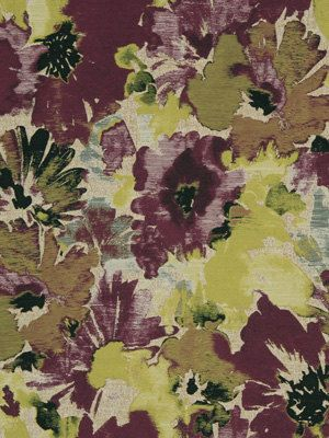 Modern Dark Purple And Yellow Floral Upholstery Drapery Fabric