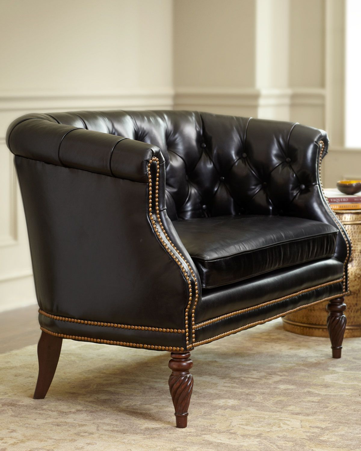 Gables TuftedLeather Settee Leather settees, Tufted