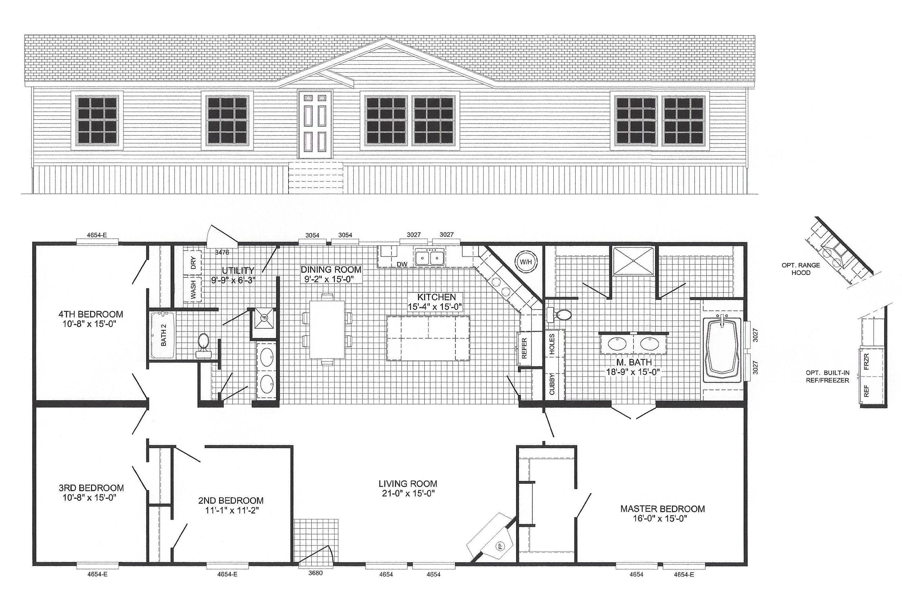 4 Bedroom Floor Plan B6012 Modular home floor plans