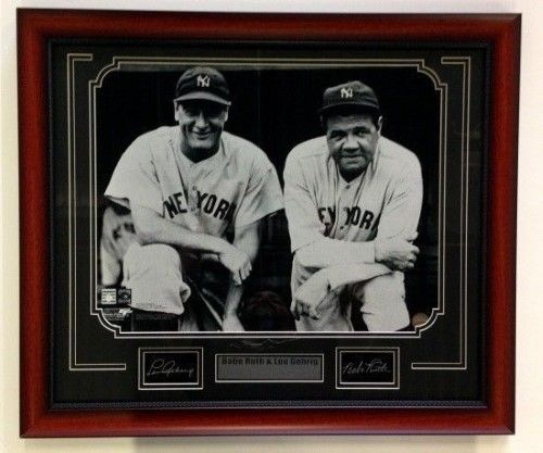 26358c984 Babe Ruth & Lou Gehrig Framed 16x20 Photo w/ Laser Engraved Signatures