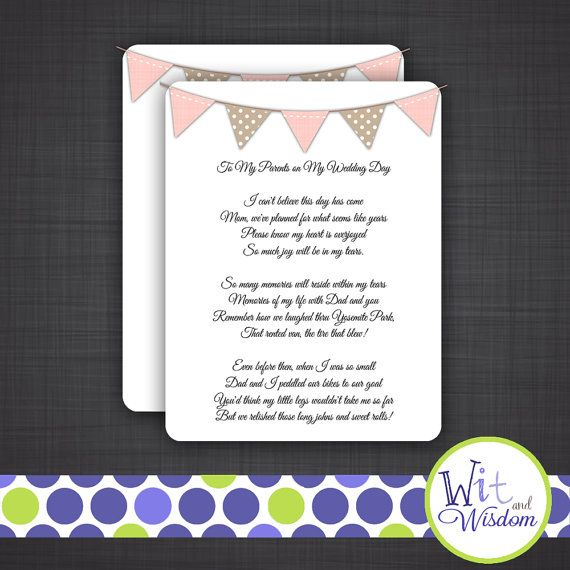 Parents Of The Bride SpeechTribute Wedding Toasts Custom