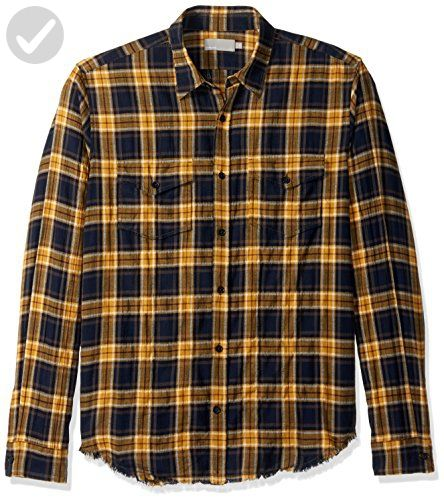 Vince Men's Frayed Edge Western Shirt, Navy/Yellow, Medium - Mens world (*Amazon Partner-Link)