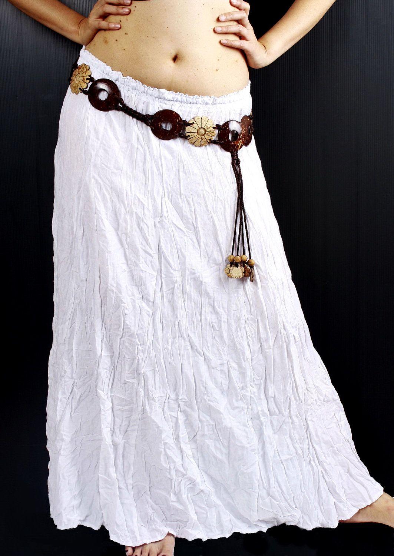 BOHO crinkle summer long skirt hippie gypsy white 100% soft and ...