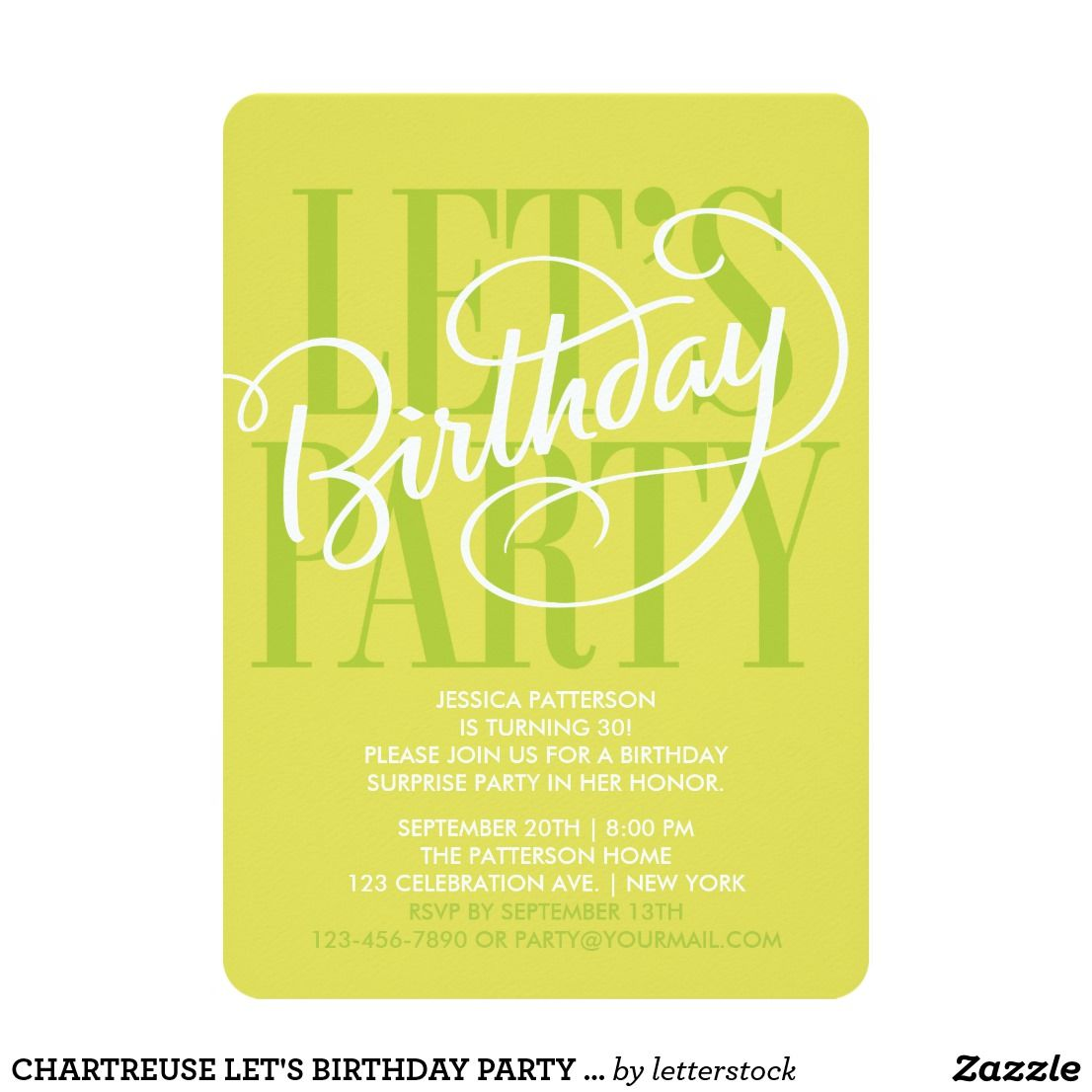 Chartreuse lets birthday party invitation birthday original chartreuse lets birthday party invitation birthday original custom hand lettering by letterstock stopboris Image collections