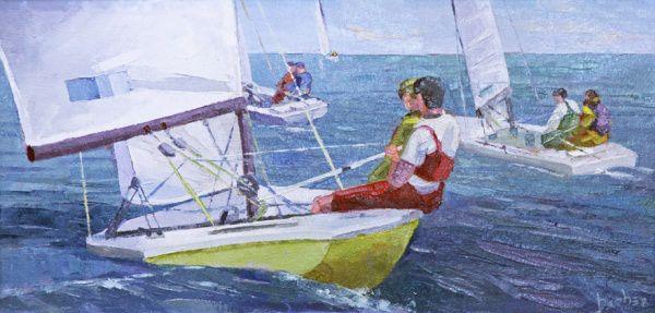 Sailing LXXI, 2013 Sérgio Beber (Brasil, contemporâneo) óleo sobre tela, 20 x 40 cm
