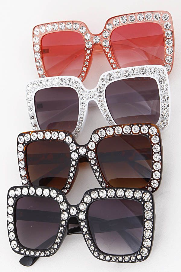 b27ac9545a6b 2018 NEW Oversized Square Frame Bling Rhinestone Sunglasses Women Fashion  Shades