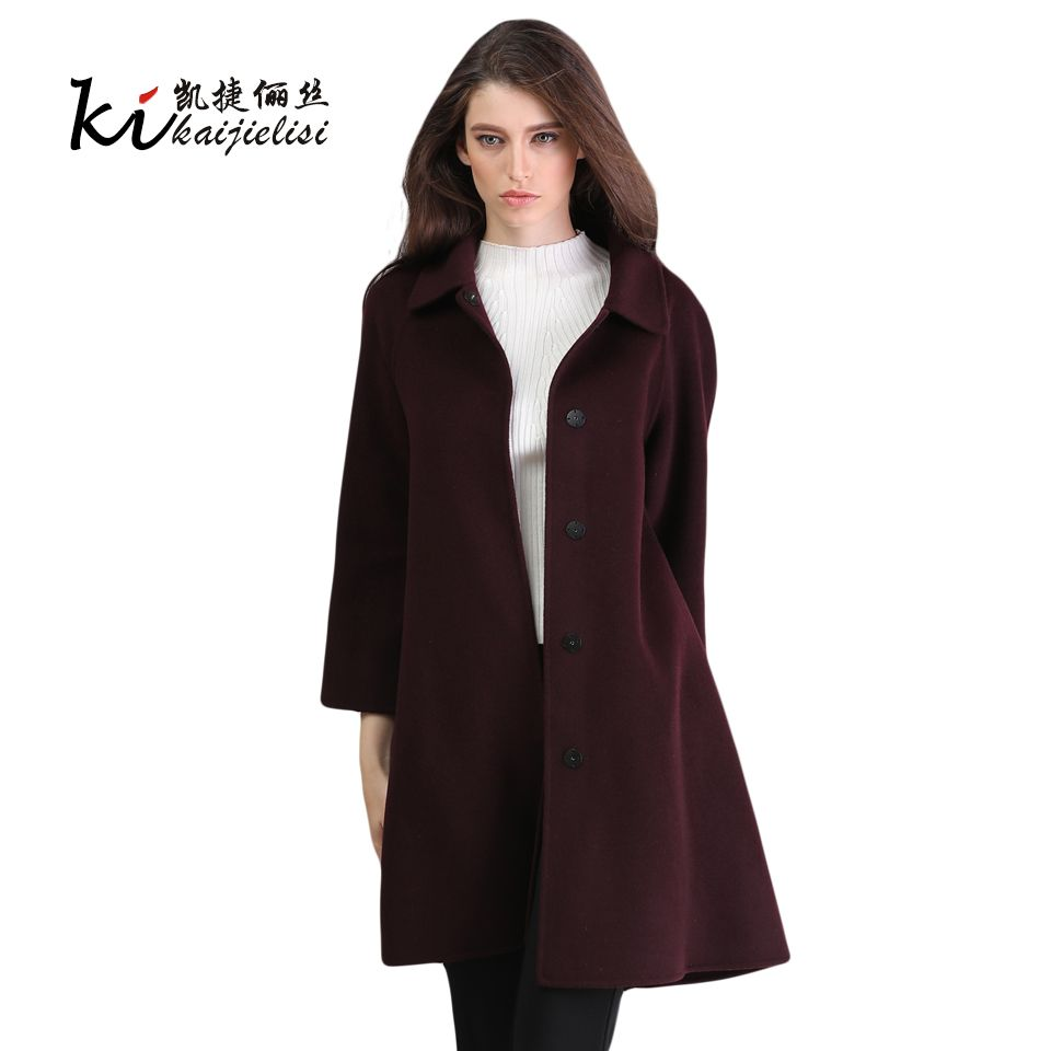 women turndown long coat wool jacket warm winter overcoat