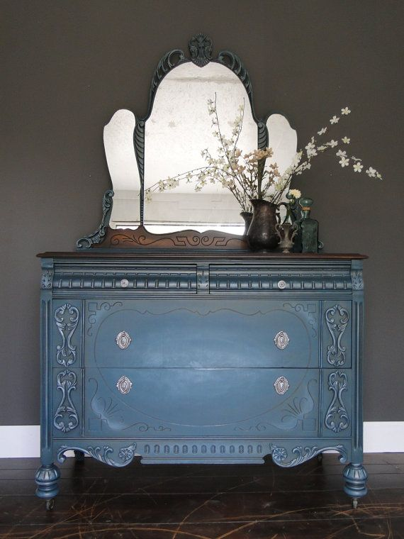 Sold Antique Painted Chest Of Drawers Dresser Ornate Mirror
