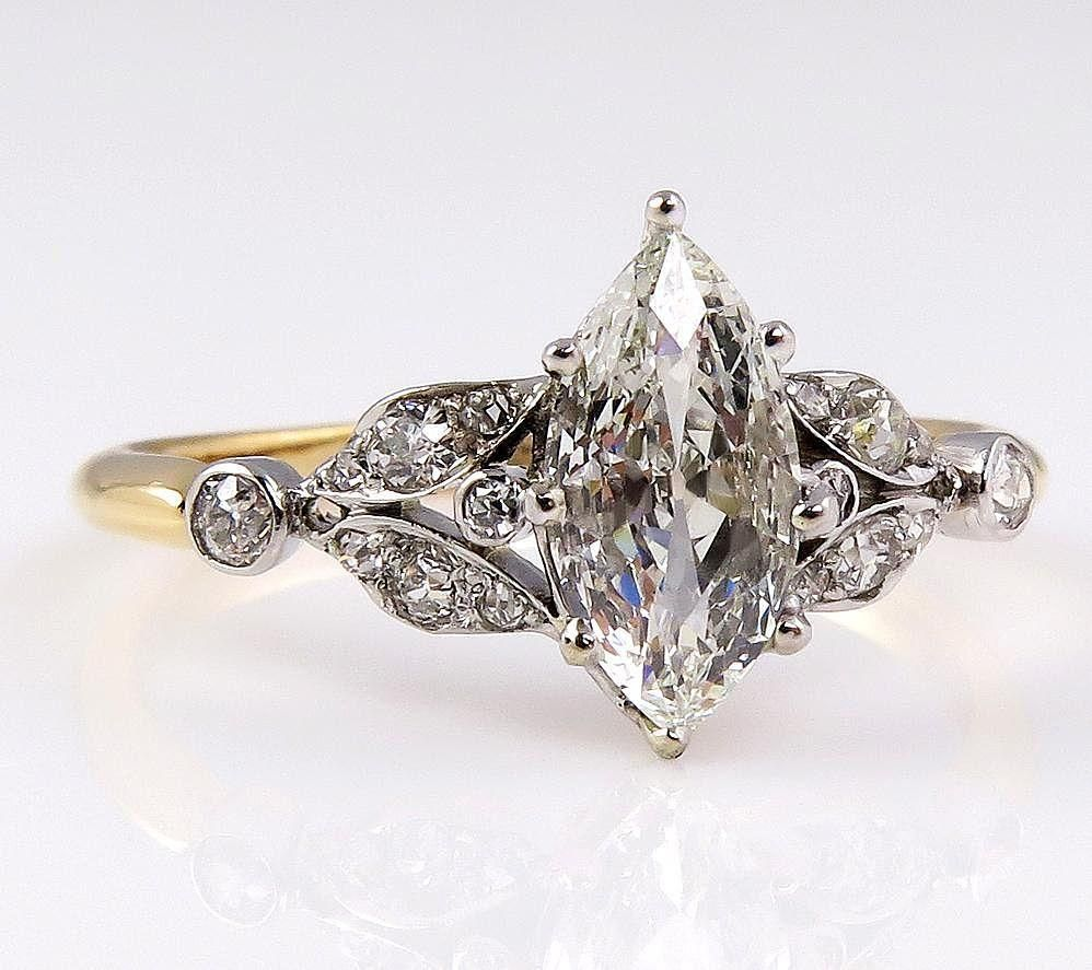 Antique Victorian French 1.00ct Old European Marquise Cut Diamond  from treasurlybydima on Ruby Lane