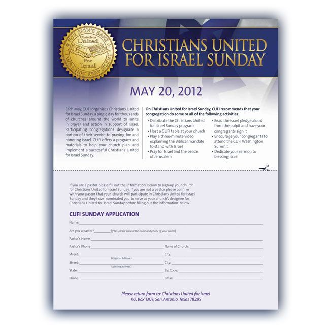 Christians United For Israel Sunday - Flyer
