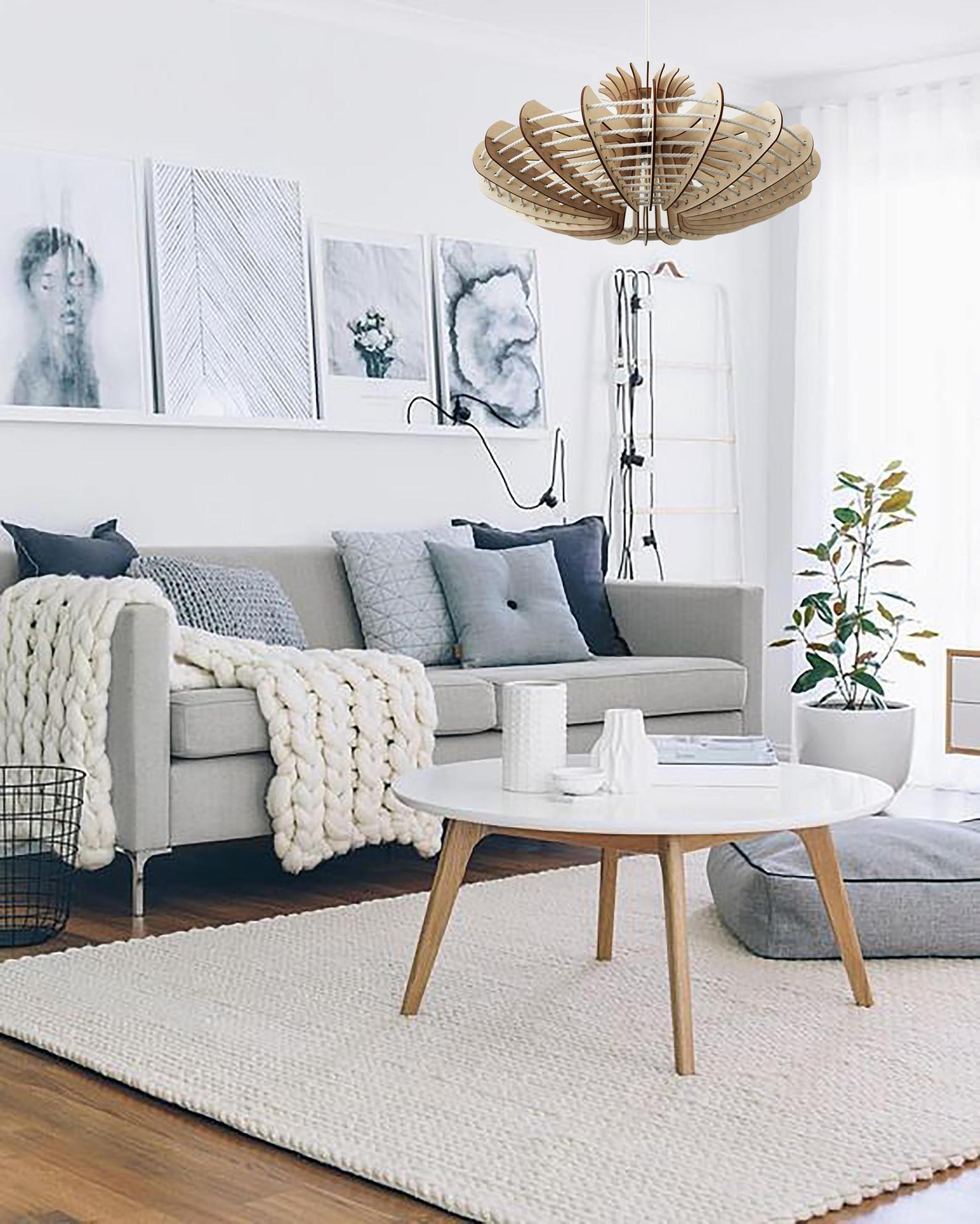 Jellyfish Pendant Light Wood Lamp Ceiling Fixture Dining Etsy In 2020 Grey Sofa Living Room Living Room Grey Living Room Scandinavian