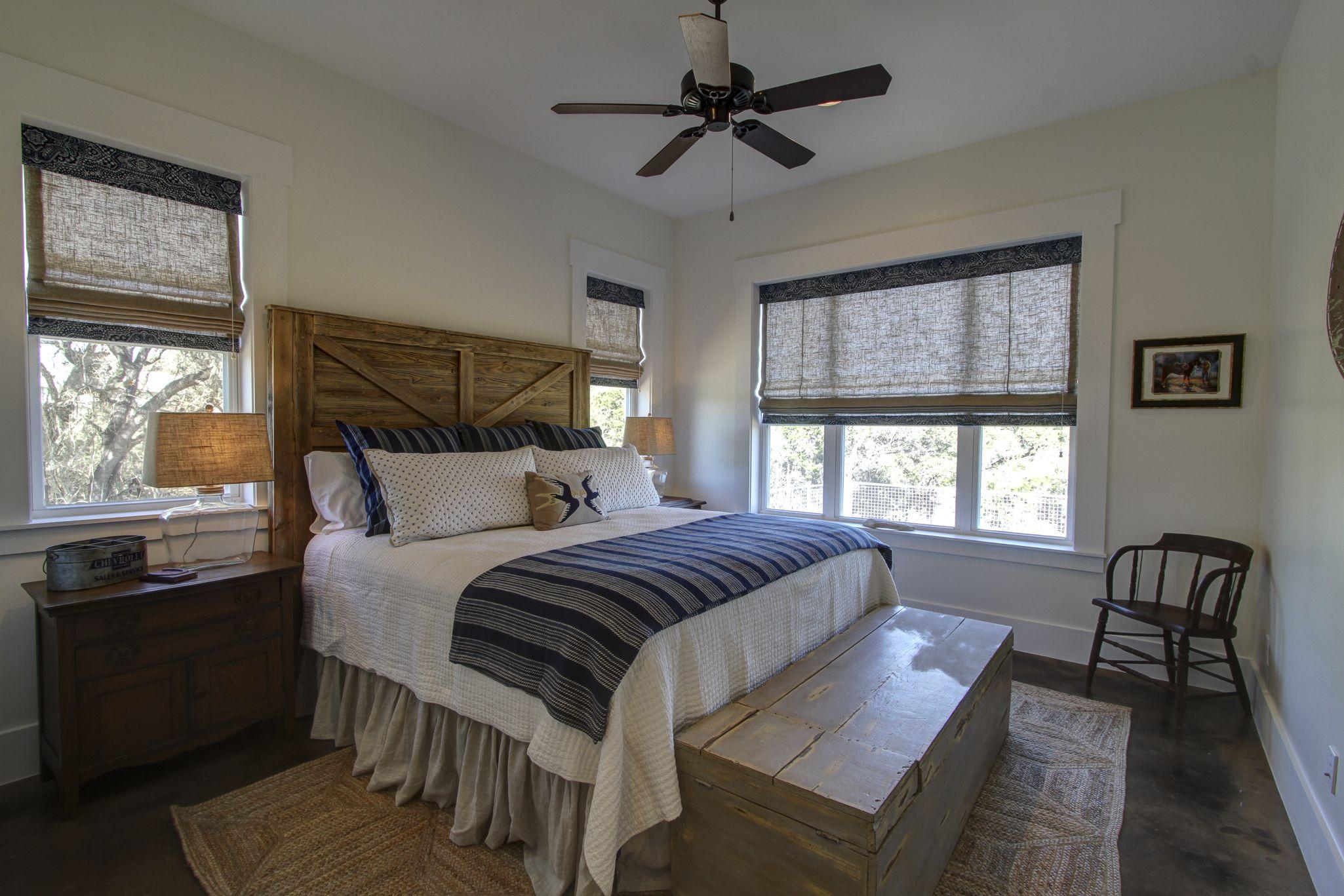 masculine guest bedroom repurposed vintage tool box serves as end