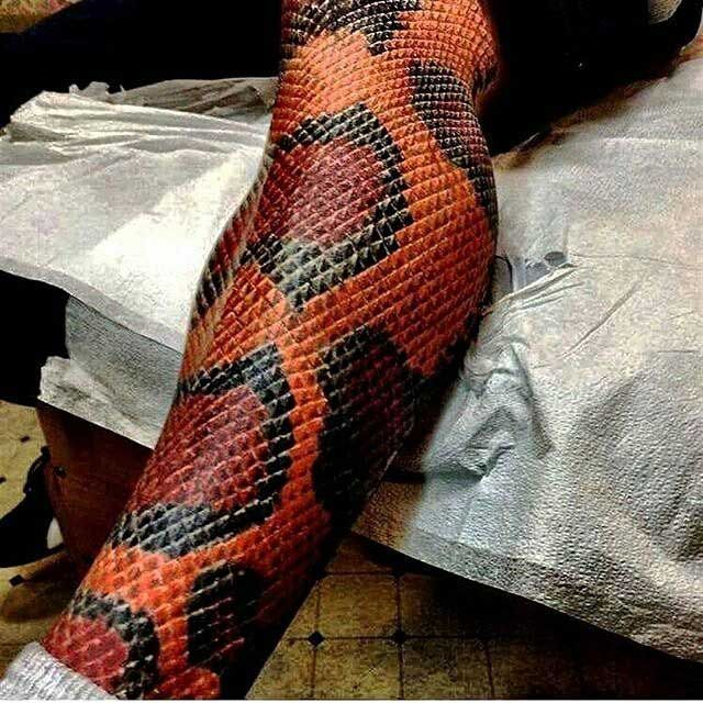 4cabede553a9 Snake Skin Tattoo on Leg