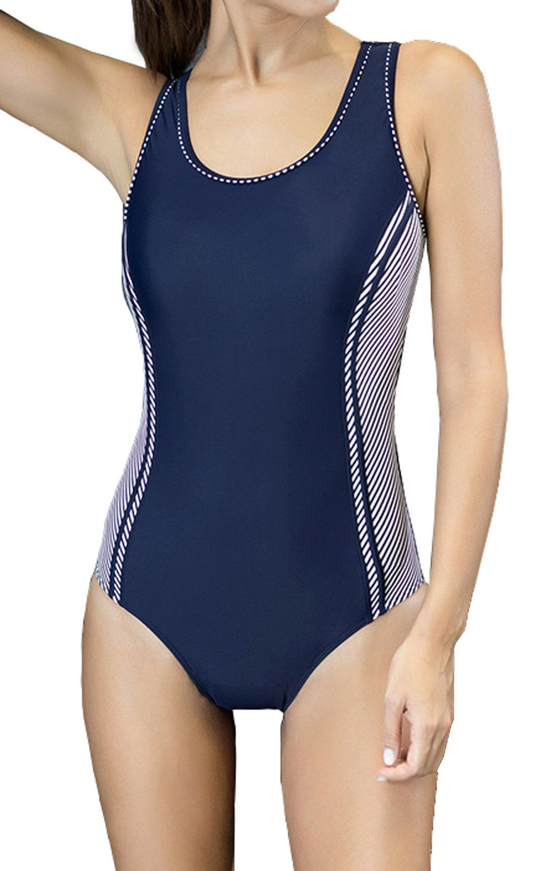 49222e6245a Upopby Women s Tummy Control Monokini One Piece Swimsuit Bathing Suit  Swimwear Navy Blue US8. Normal