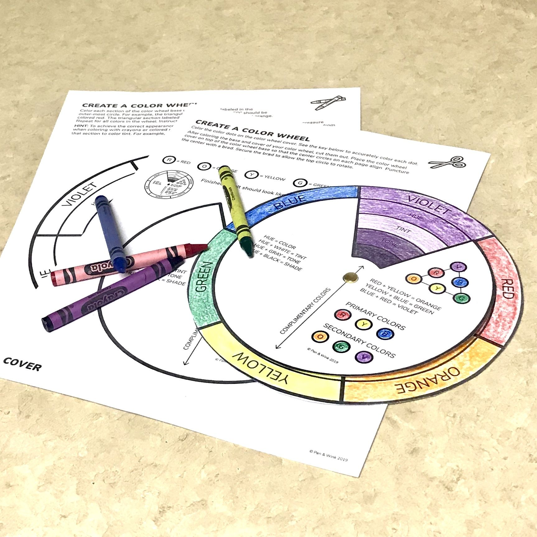 Printable Color Wheel Featuring Primary And Secondary