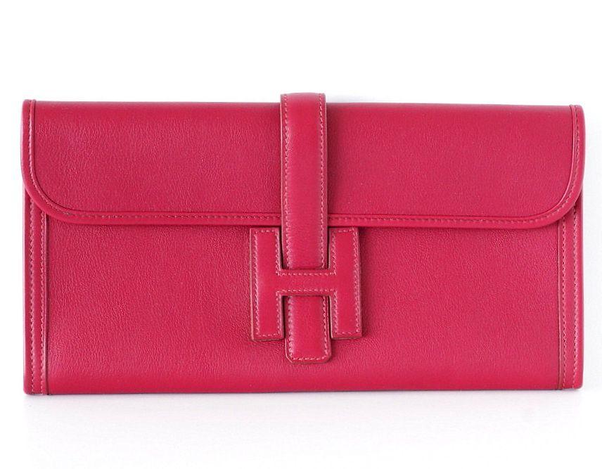 Hermes Jige Elan Clutch Bag 29 Rubis Swift leather